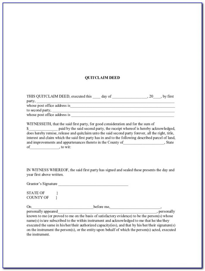 Quit Claim Deed Form State Of Louisiana