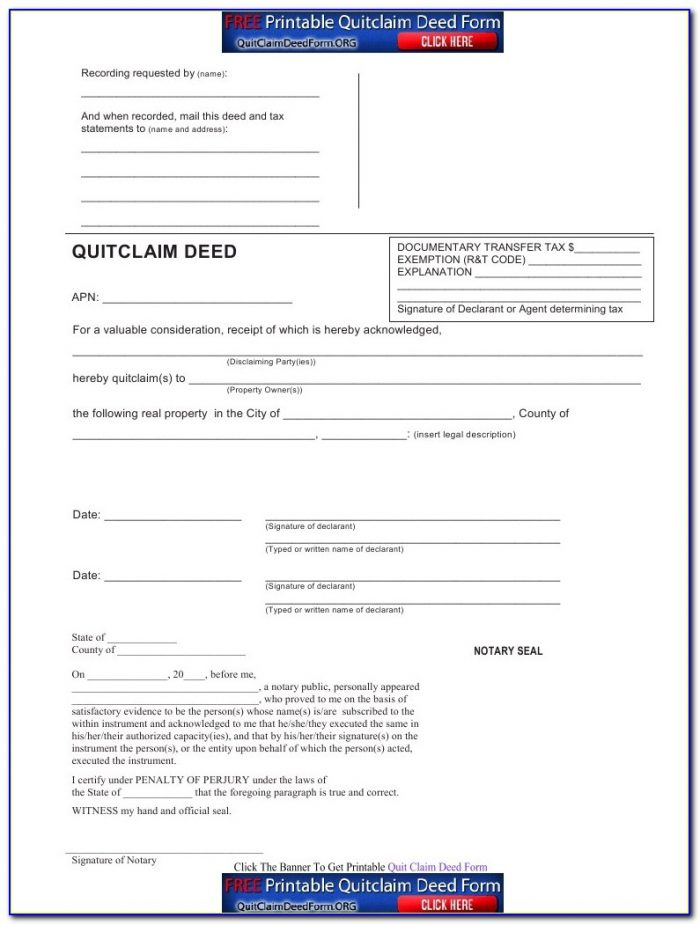 Quit Claim Deed Forms California