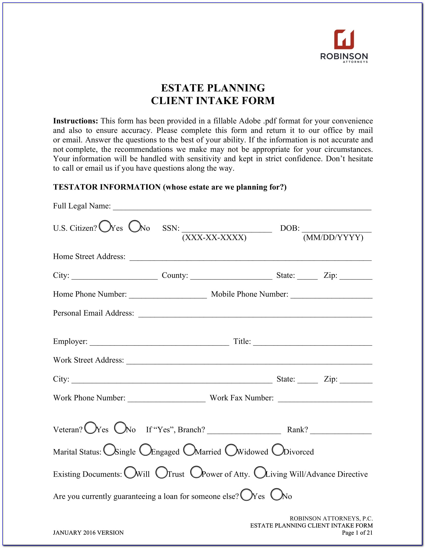 Real Estate Client Intake Form Template