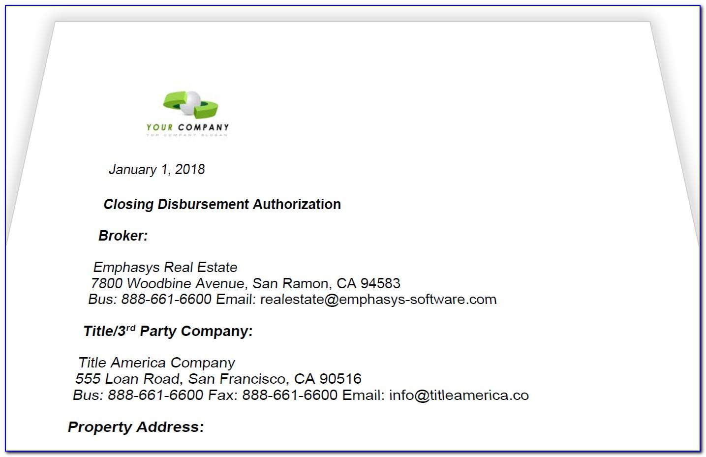 Real Estate Commission Disbursement Authorization Form