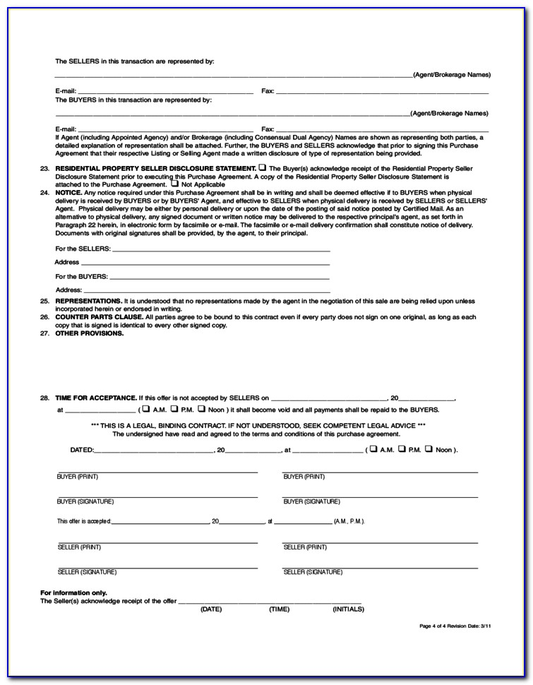 Real Estate Purchase Agreement Form Free