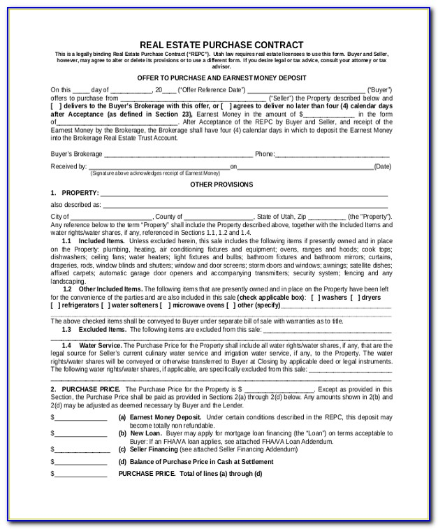 Real Estate Purchase Agreement Form New York