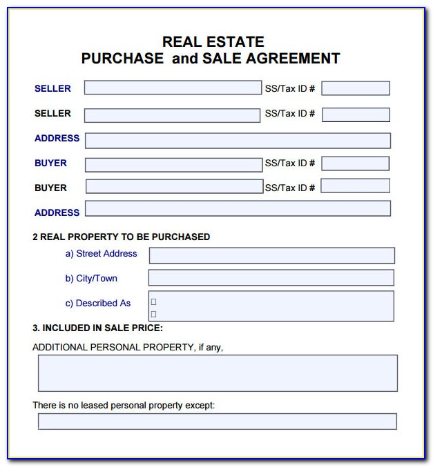 Real Estate Sales Agreement Form Download