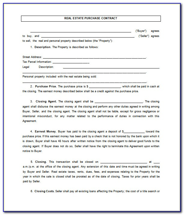Real Estate Sales Agreement Form Ontario