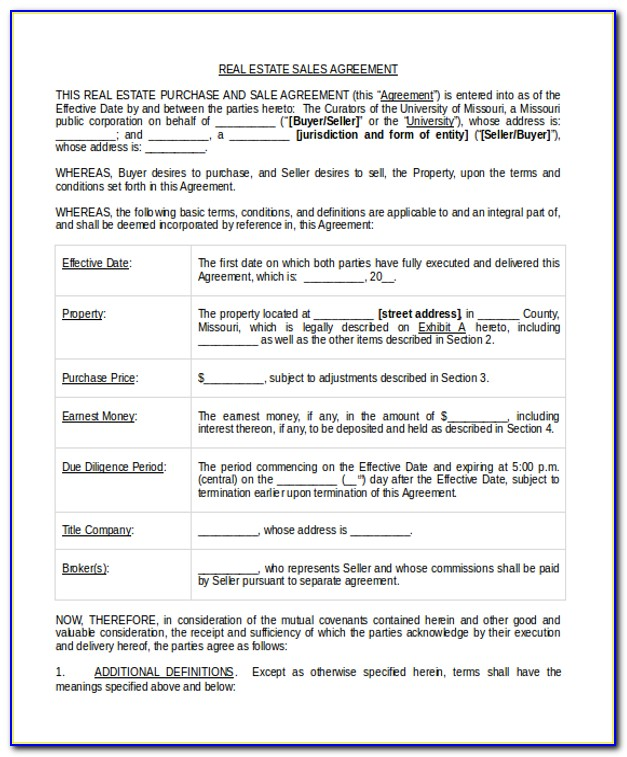 Real Estate Sales Agreement Form