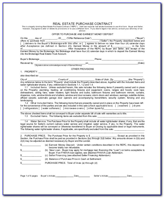 Real Estate Selling Contract Form
