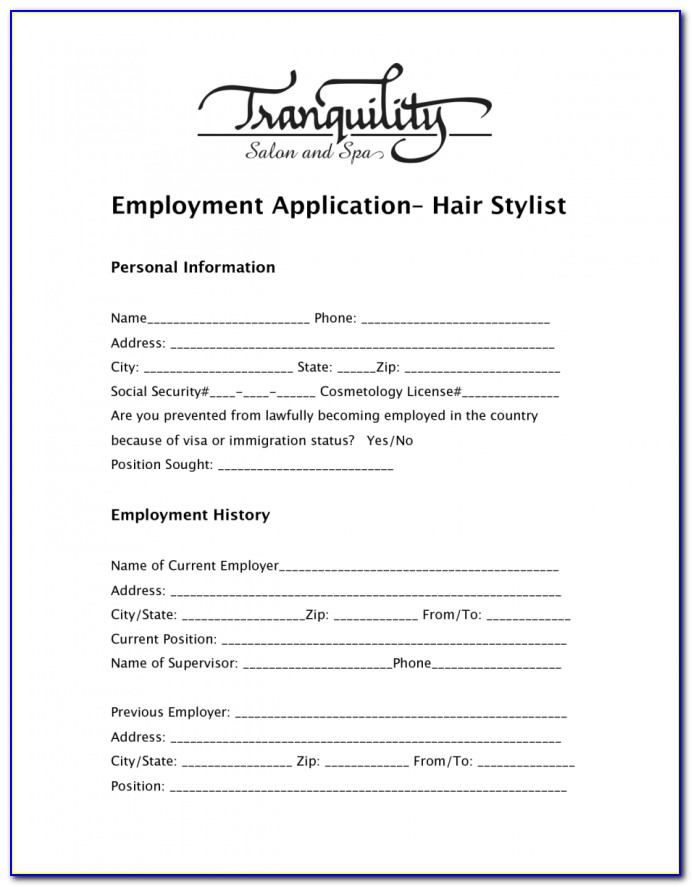 Regis Salon Job Application