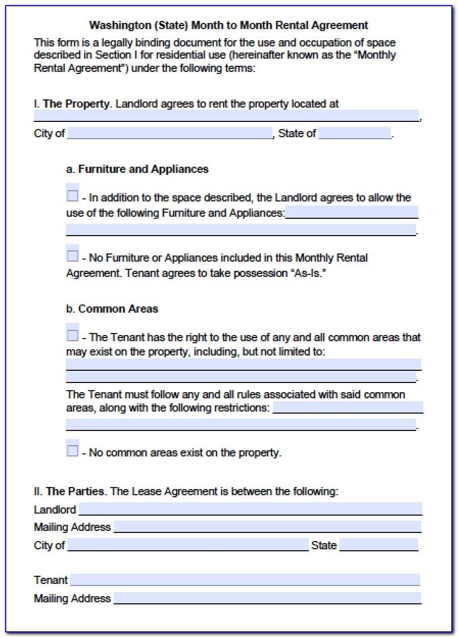 Rental Agreement Form Washington State Pdf