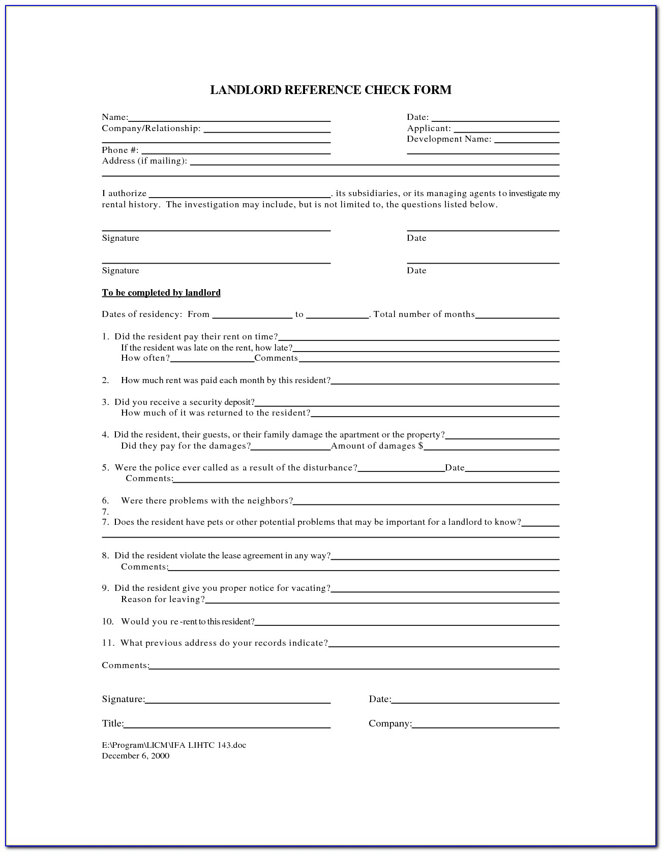 Rental Reference Check Form