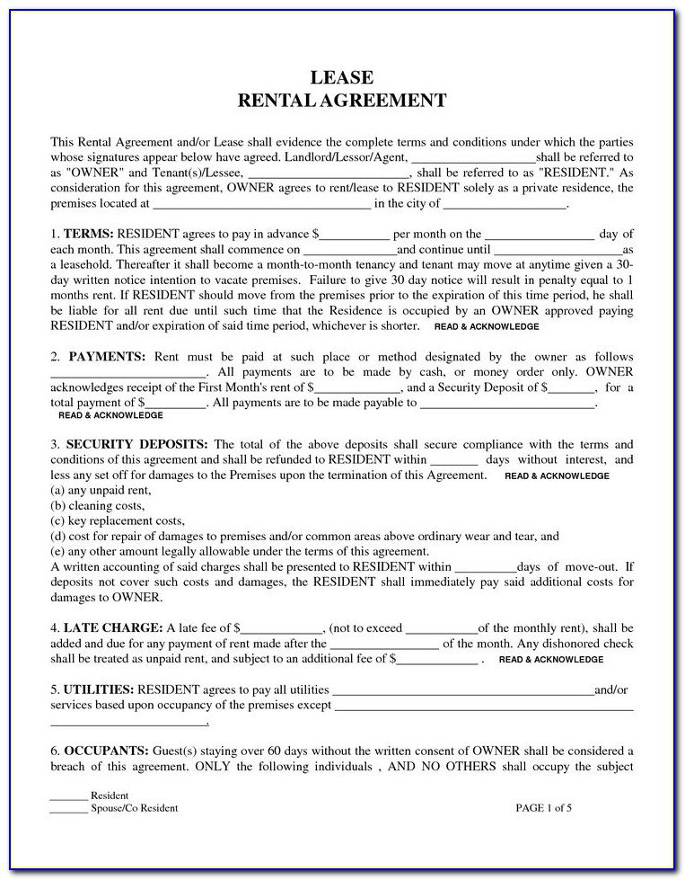Renters Lease Agreement Form Free