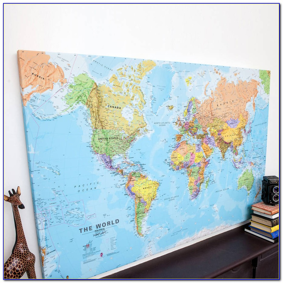 Retro World Map Printed Canvas Print Unframed Wall Art