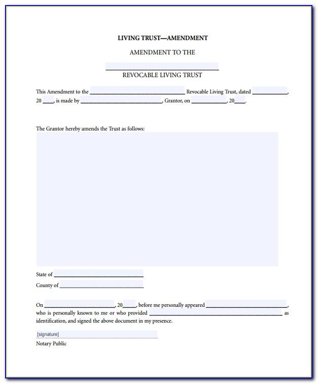 Revocable Living Trust Amendment Forms Free Download