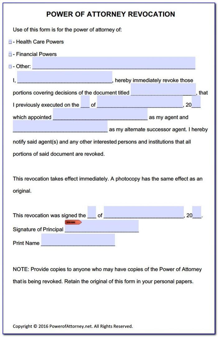 Revocable Power Of Attorney Form Free
