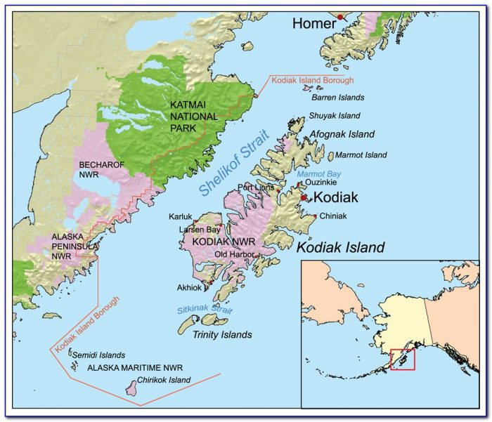 Road Map Of Kodiak Island