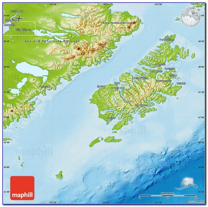 Physical Map Of Kodiak Island Borough.