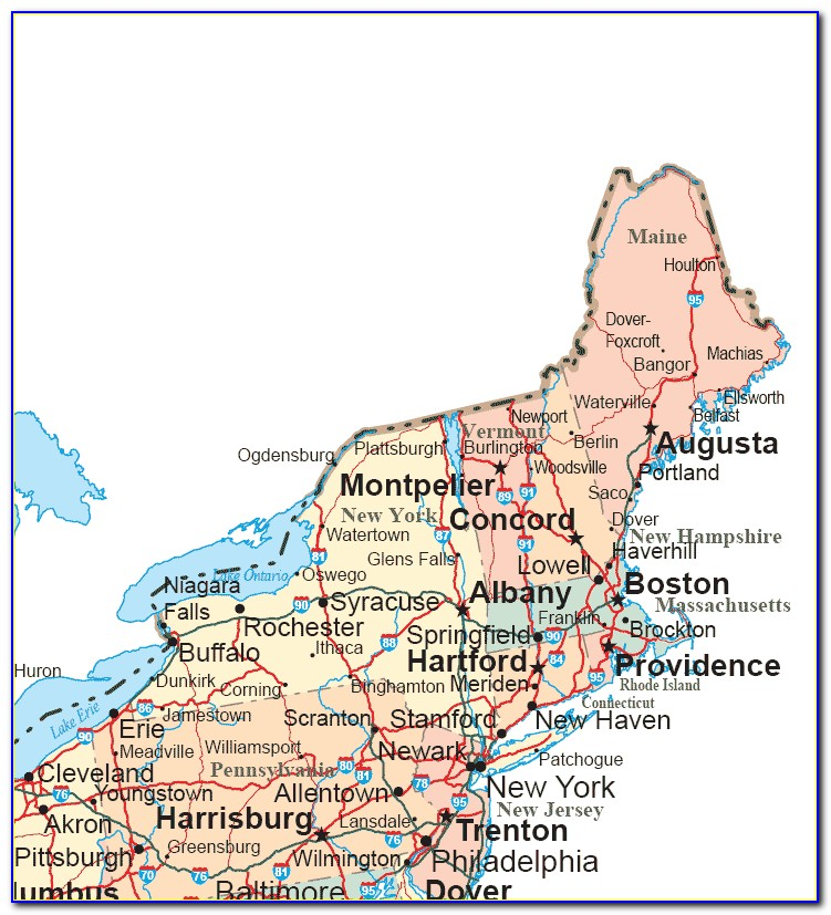 Road Map Of Northeast Us