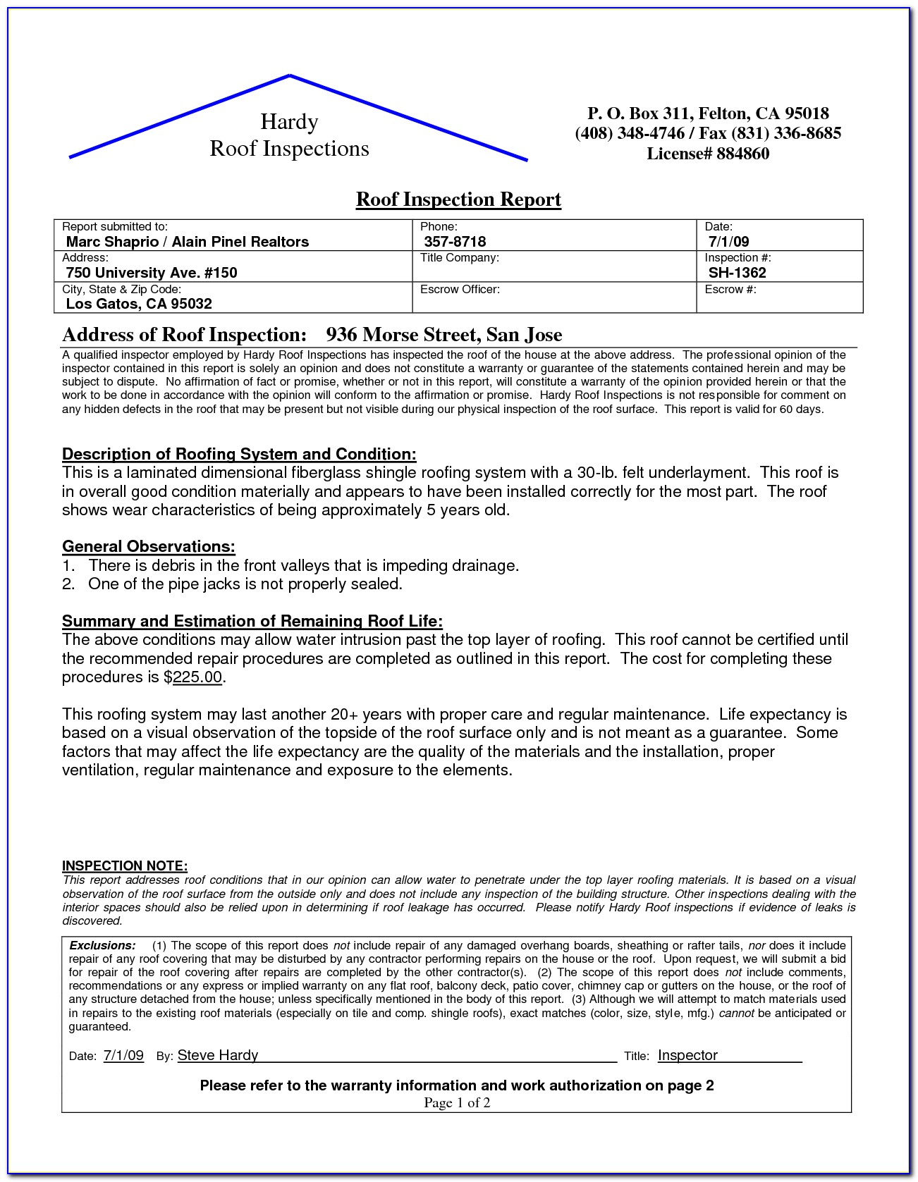 Roof Inspection Form Template