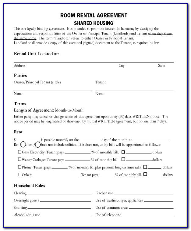 Room Rental Agreement Form Pdf