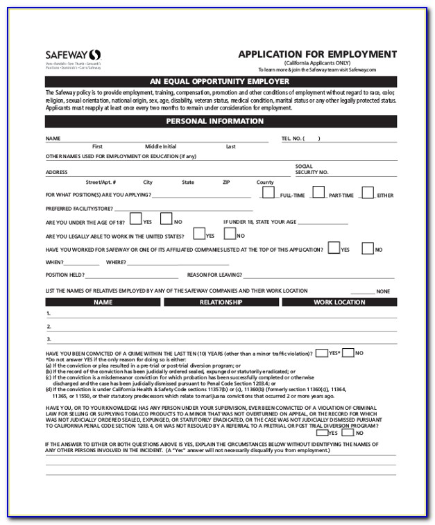 safeway job application for 14 year olds  job