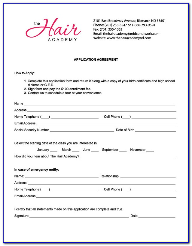 Salon Job Application Template