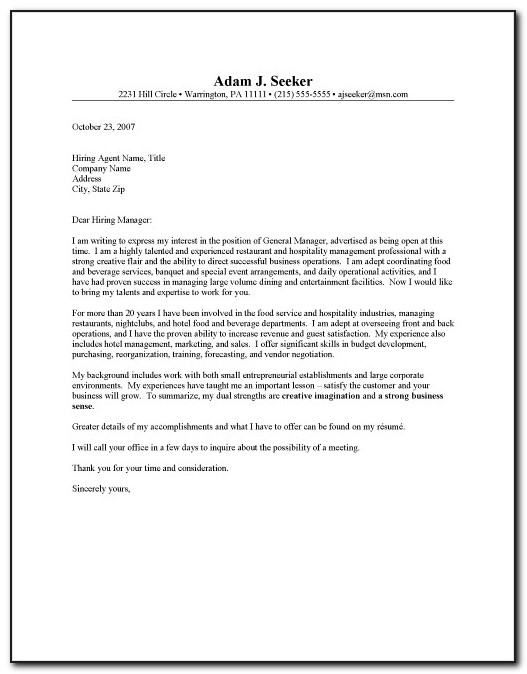 Sample Application Letter For Hotel And Restaurant