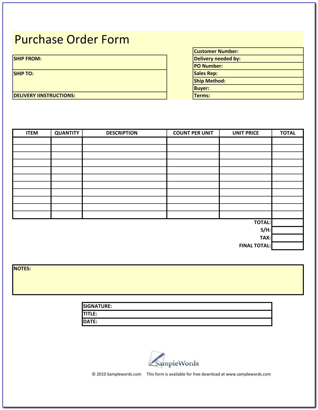 Sample Blank Purchase Order Form