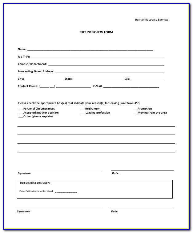 Sample Exit Interview Form For Students