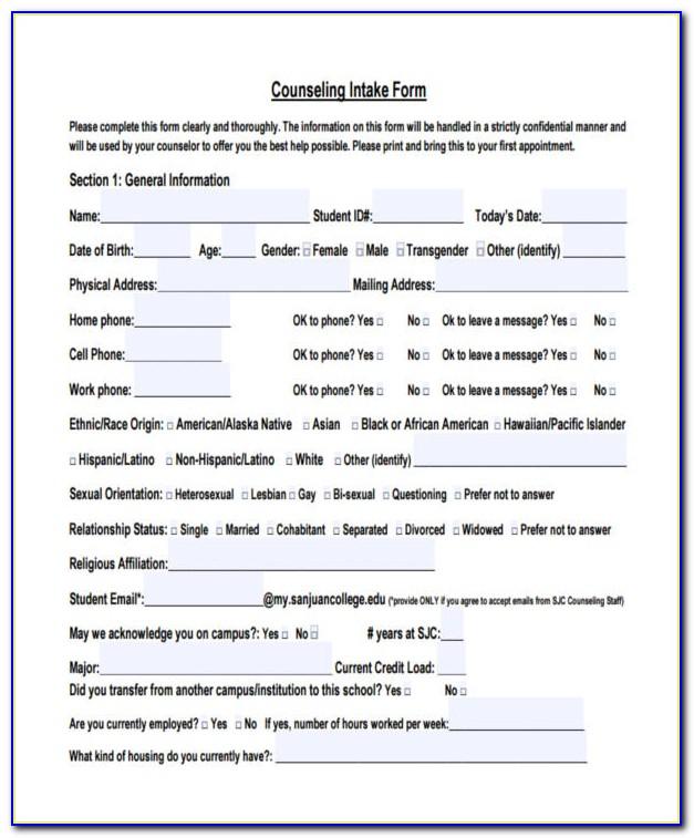 Sample Pastoral Counseling Intake Form