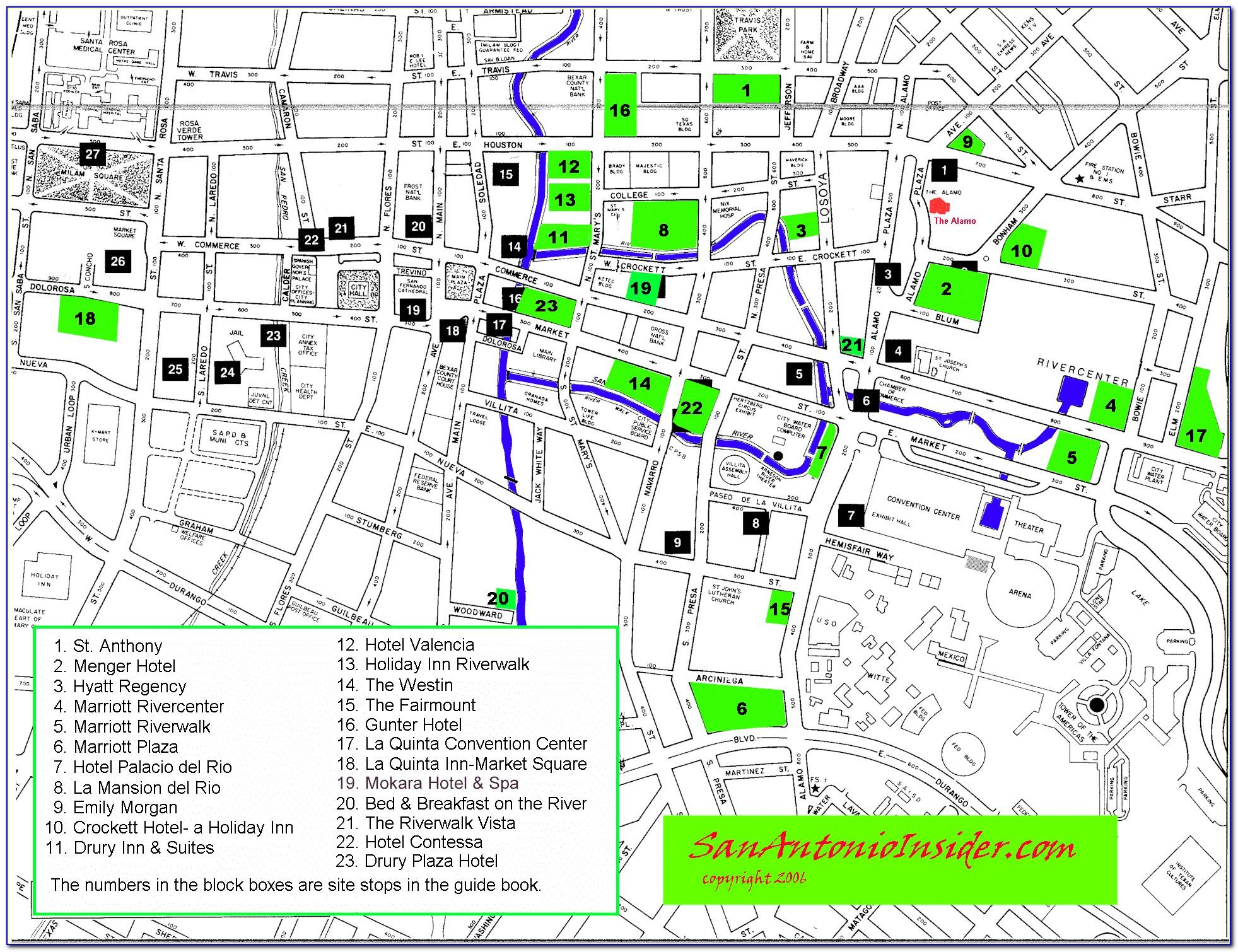 San Antonio Riverwalk Hotel Map