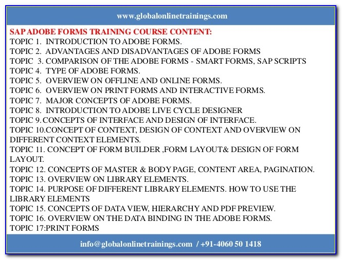 Sap Training Adobe Interactive Forms