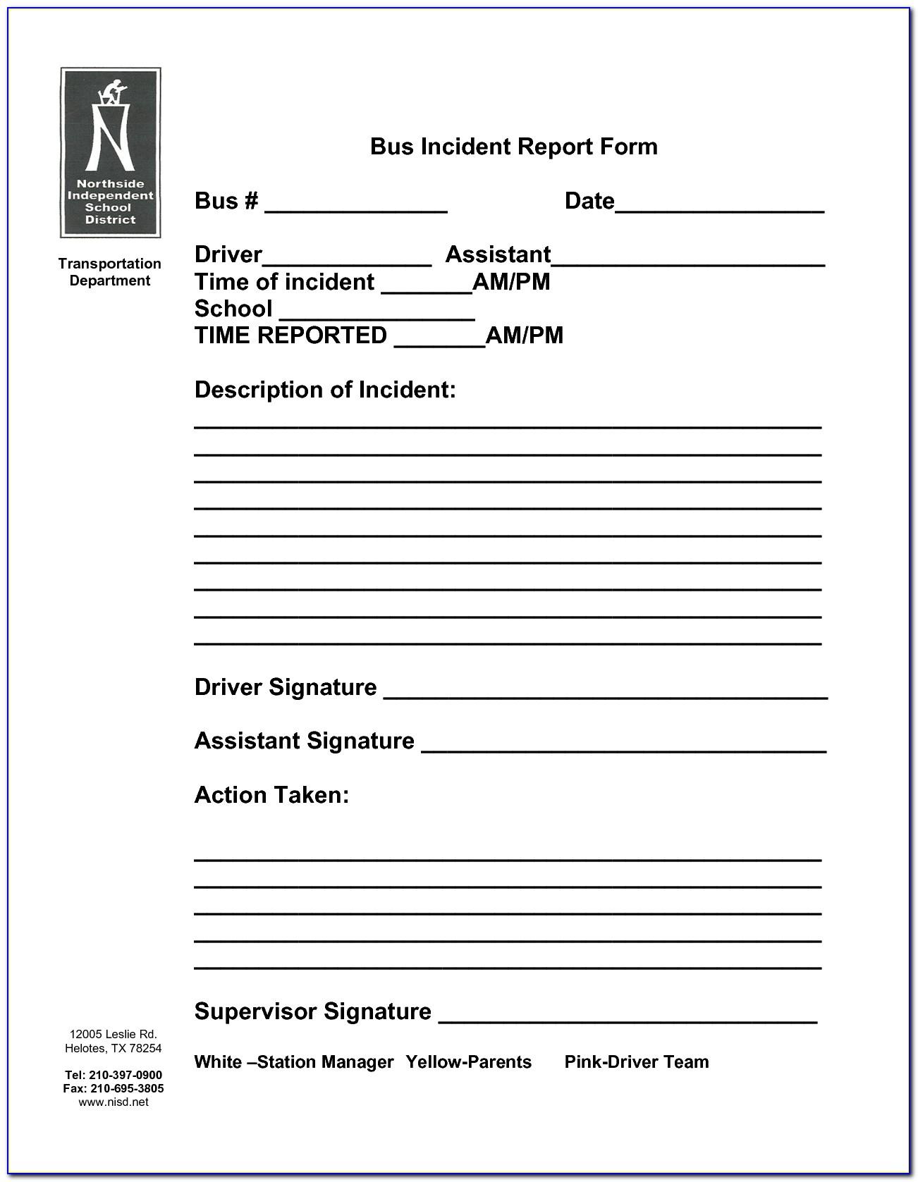 School Bus Accident Report Template