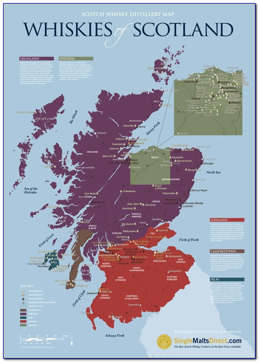 Scottish Whisky Distilleries Map