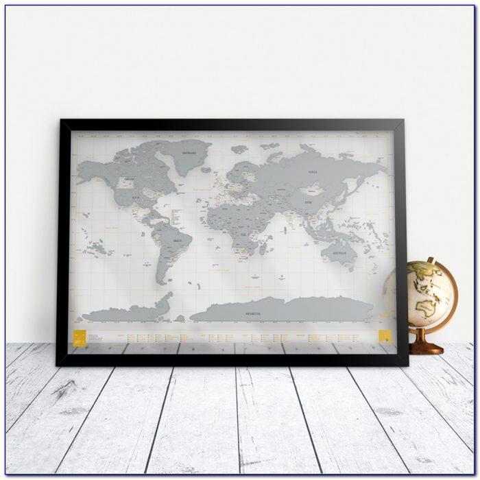Scratch Map Frame Canada