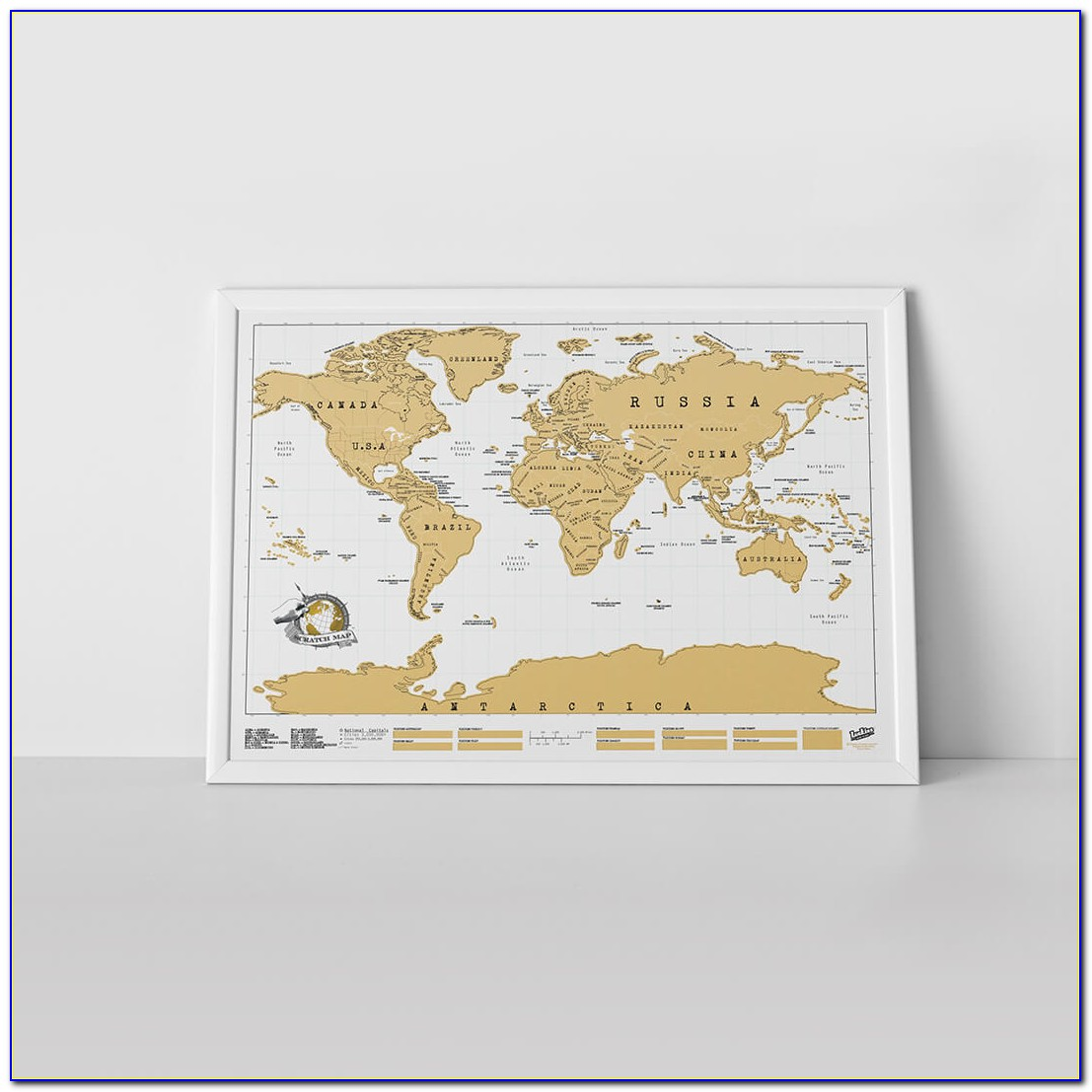 Scratch Off World Map Framed Uk