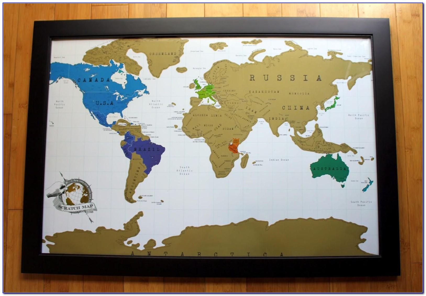 Scratch Off World Map Framed