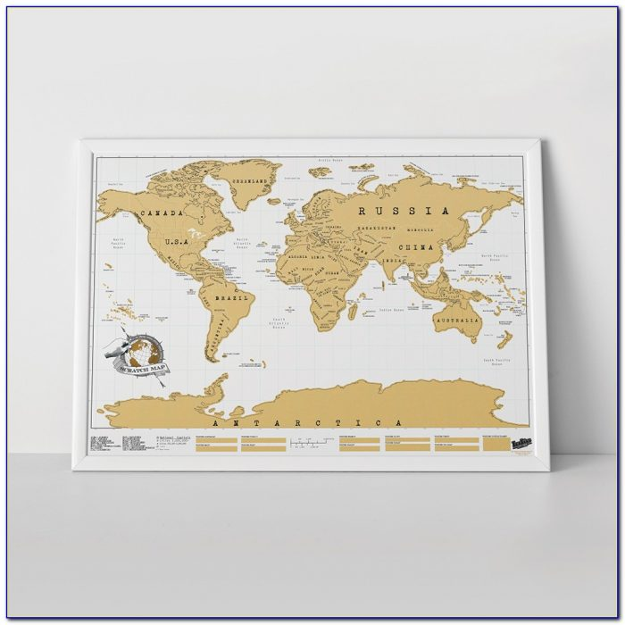 Scratch World Map Framed