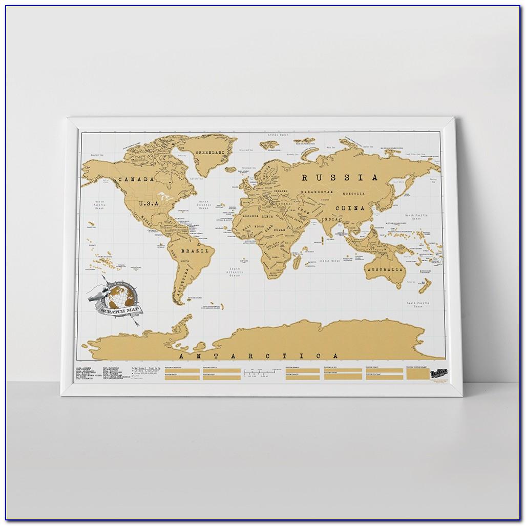 Scratch World Map Framed