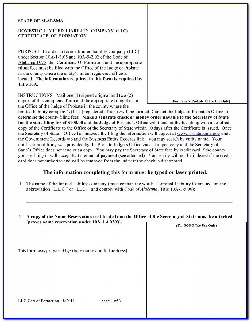 Secretary Of State Llc Forms