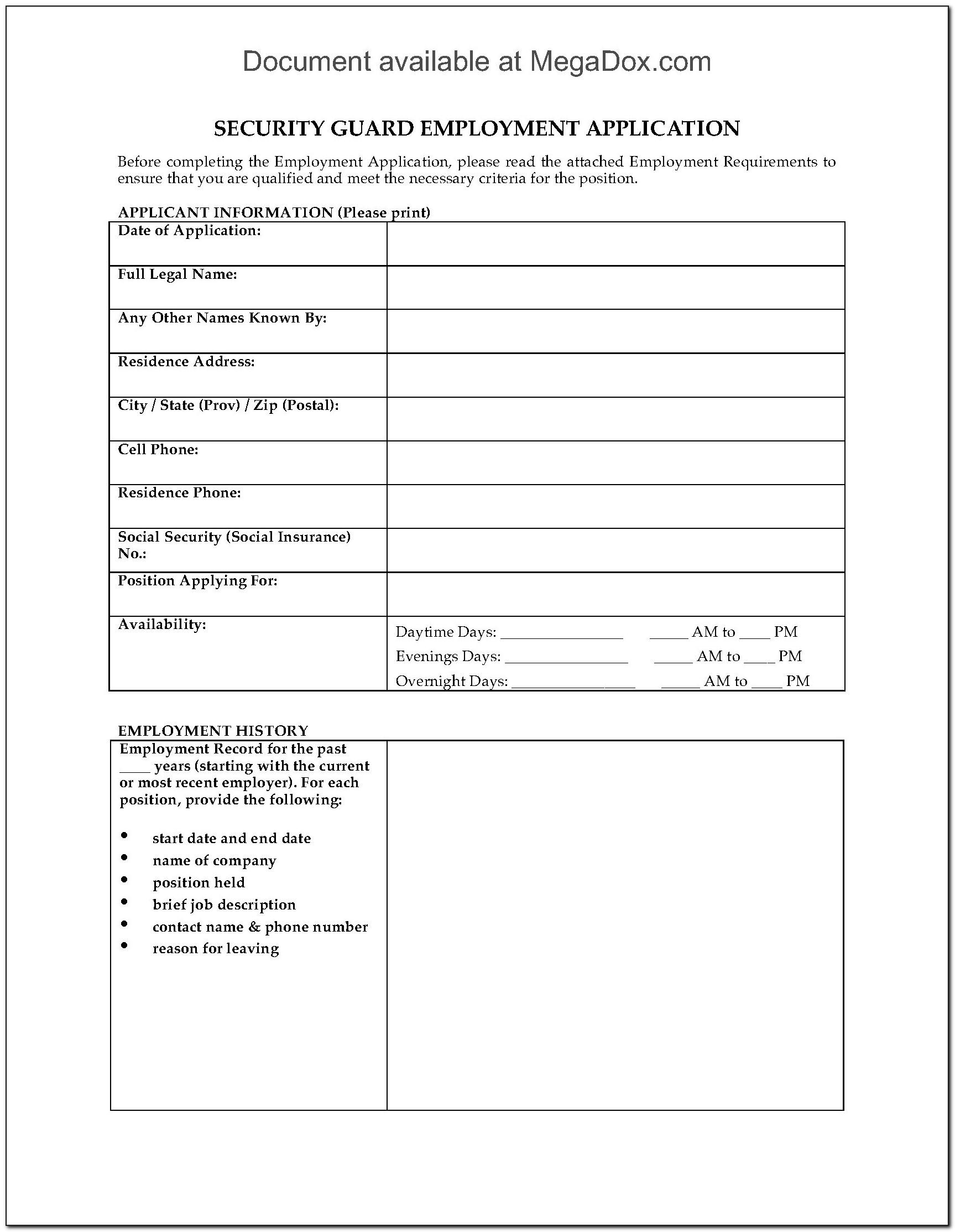 Security Guard Job Application Pdf