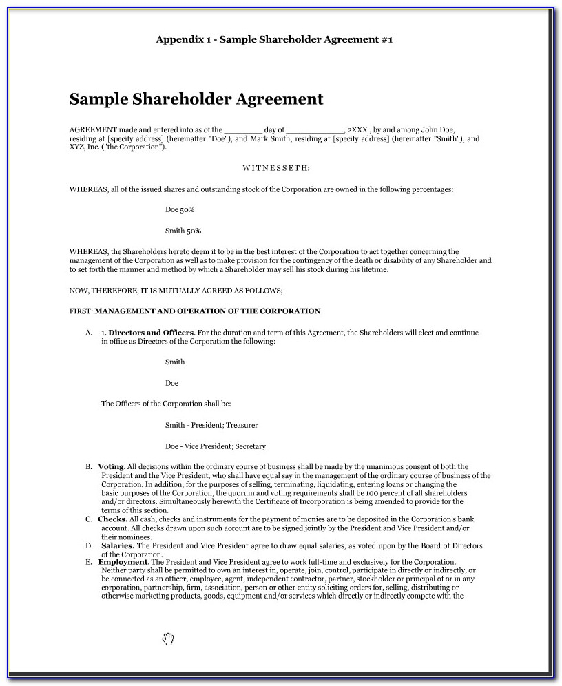 Shareholders Agreement Form