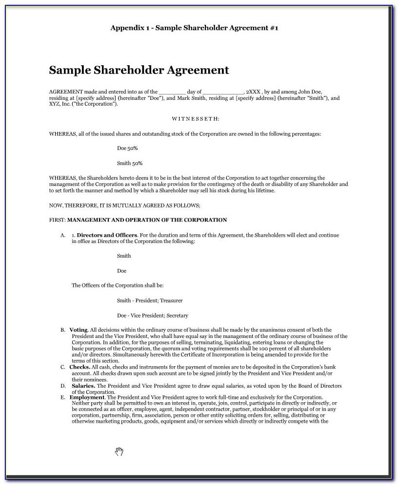 Shareholders Agreement Form