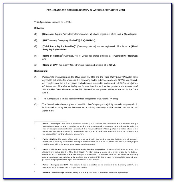 Shareholders Agreement Long Form