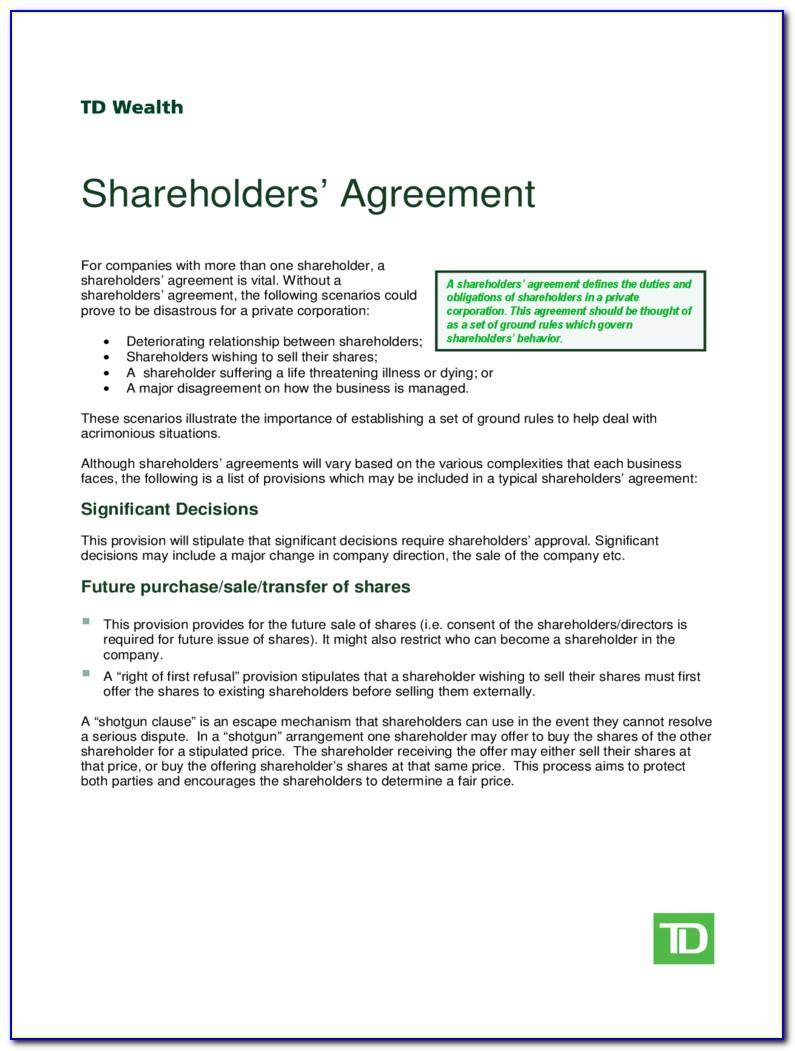 Shareholders Agreement Simple Form