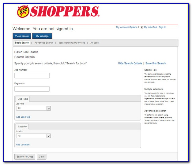Shoppers Job Application Online