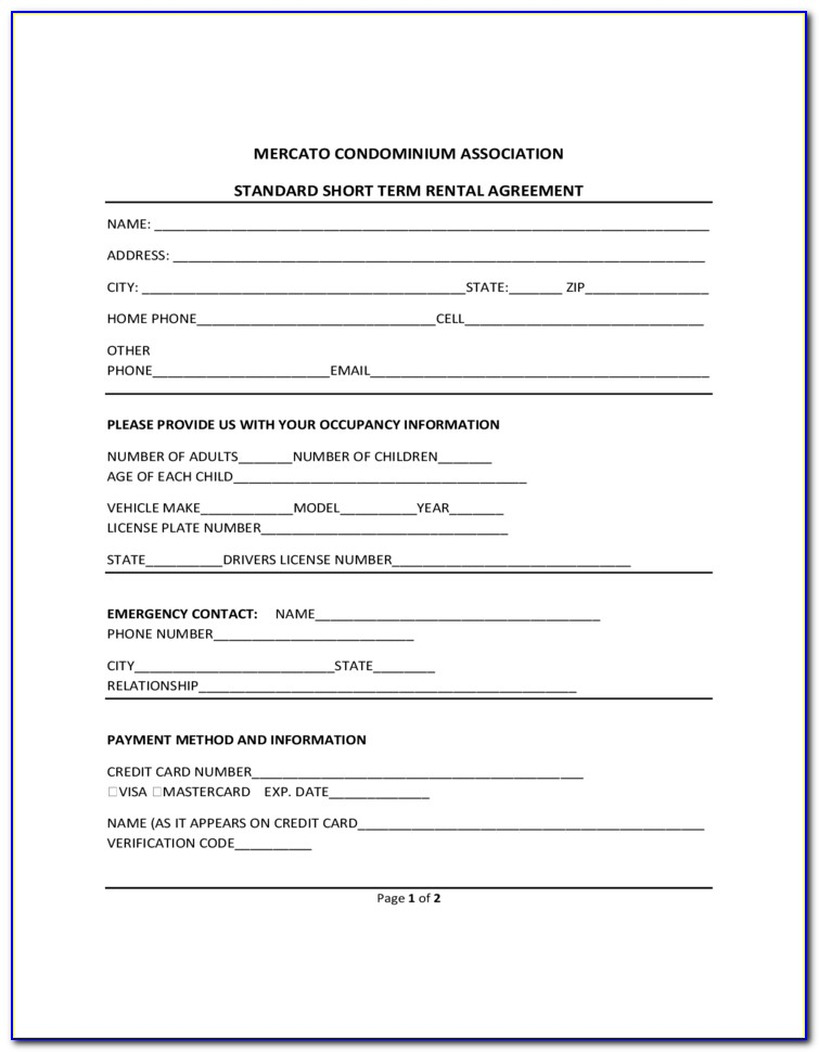 Short Term Apartment Rental Agreement Form