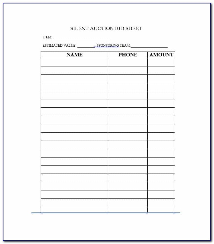 Silent Auction Bid Form Example