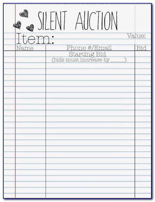 Silent Auction Bid Form Pdf