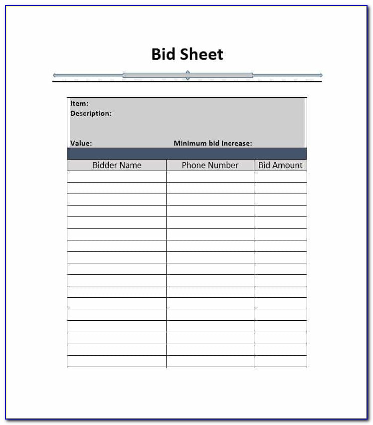 Silent Auction Bid Forms Free