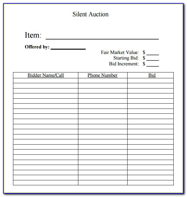 Silent Auction Bidding Form Template