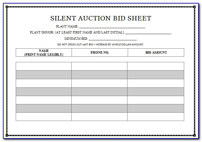 Silent Auction Bidding Sheet Template